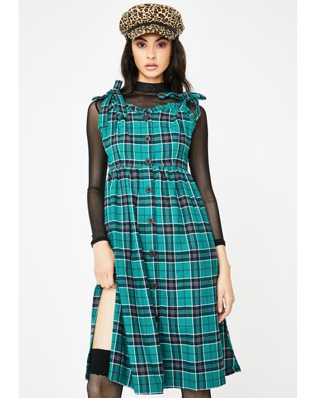 Green With Envy Plaid Midi Dress