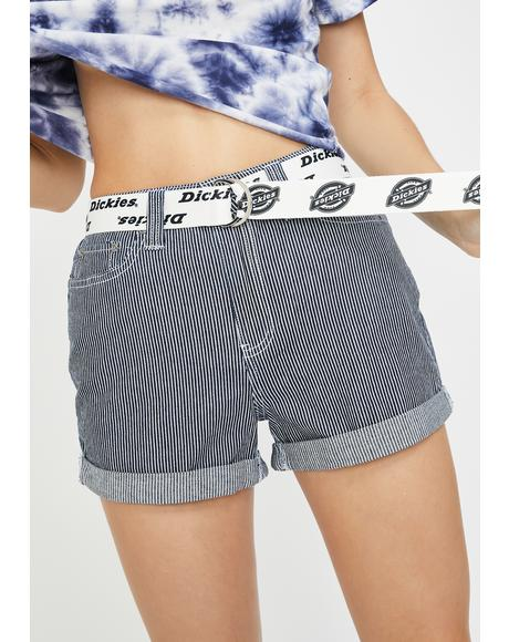 Belted Rolled Cuffed Shorts