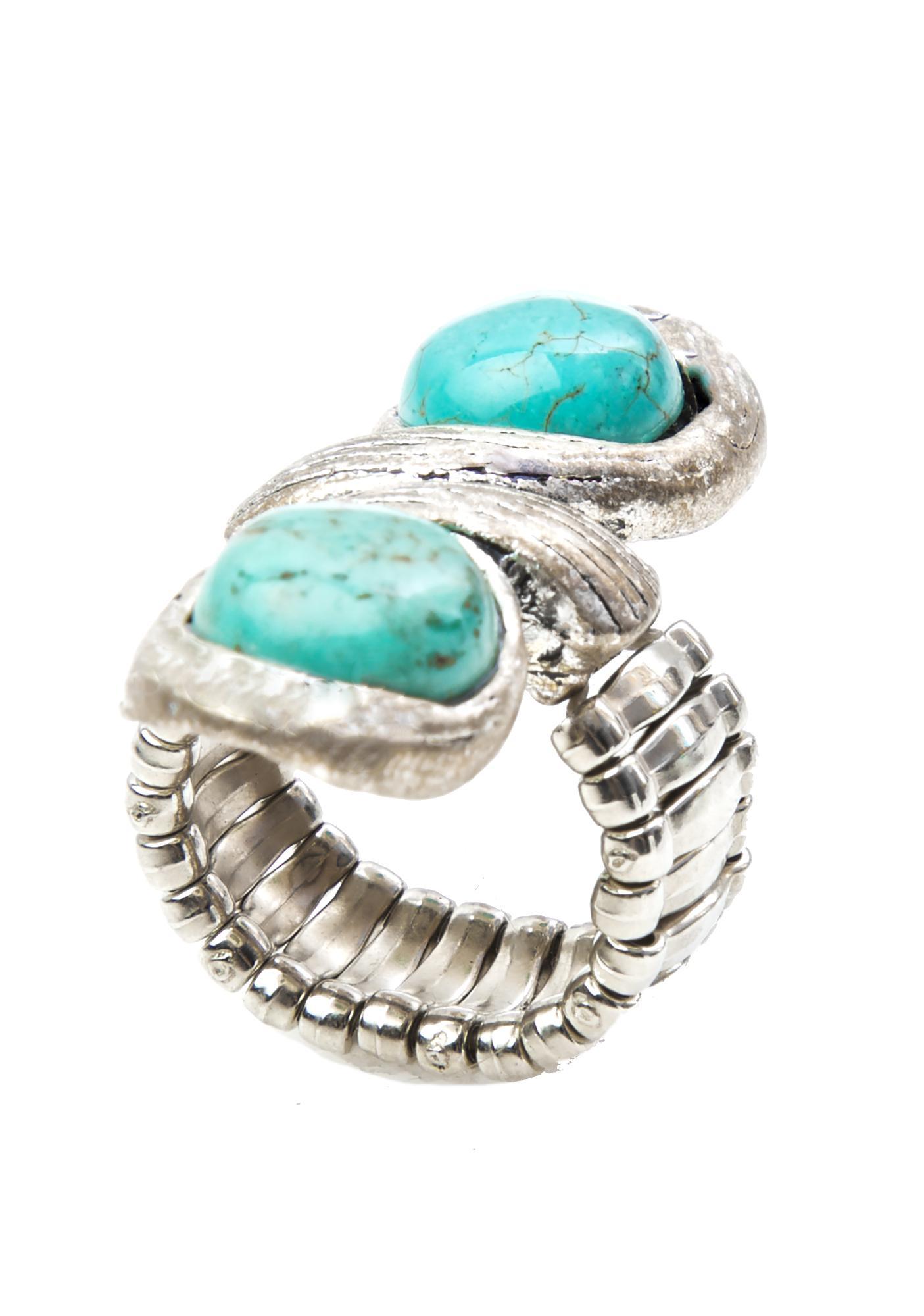 Hot Shot Double Stone Turquoise Ring