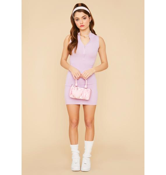 Lilac Lady Luck Ribbed Mini Dress