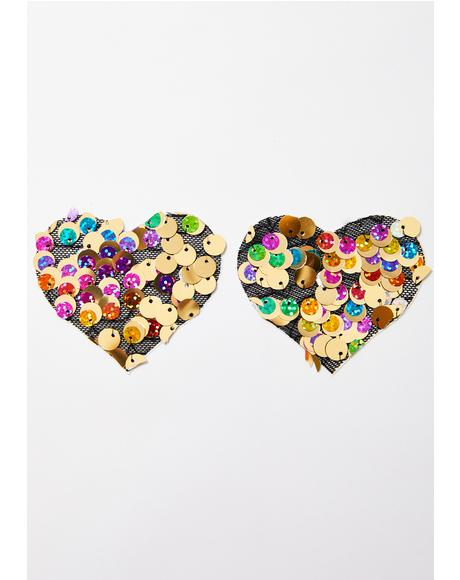 Chunky Sequin Heart Pasties