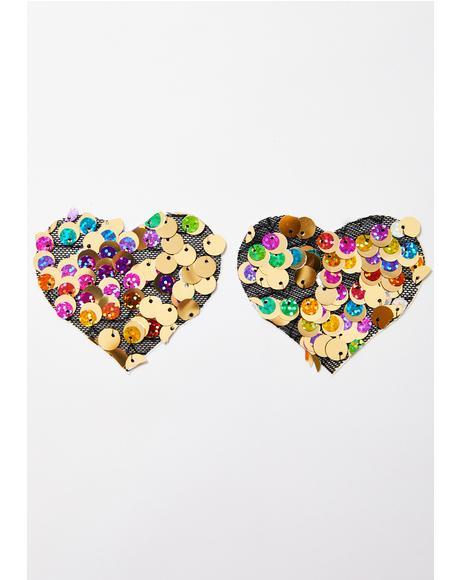 Chunky Sequin Heart Pasties