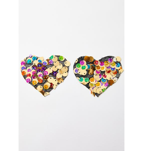 Pastease Chunky Sequin Heart Pasties
