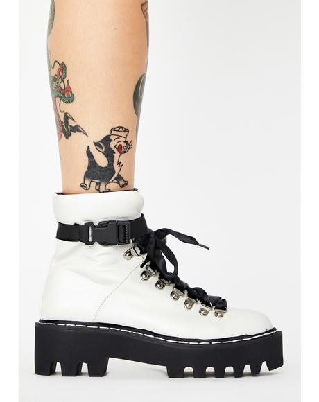 White Real Talk Ankle Boots
