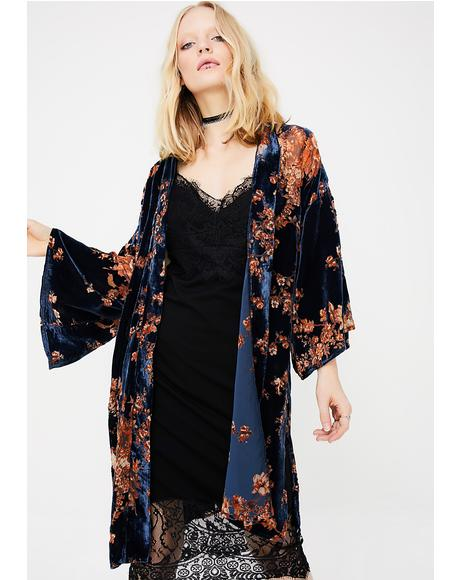 Fallin' Flowers Velvet Kimono