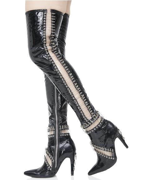 Pinned Thigh High Boots