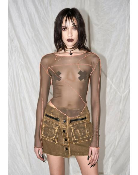 Synth Contrast Stitching Mesh Top