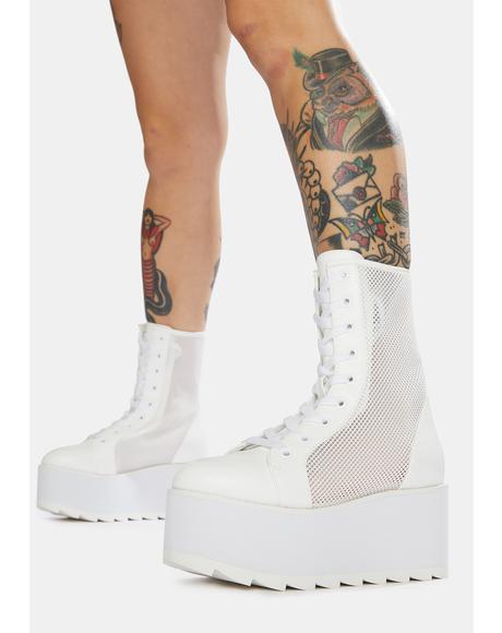 White Bloq Mesh Platform Boots