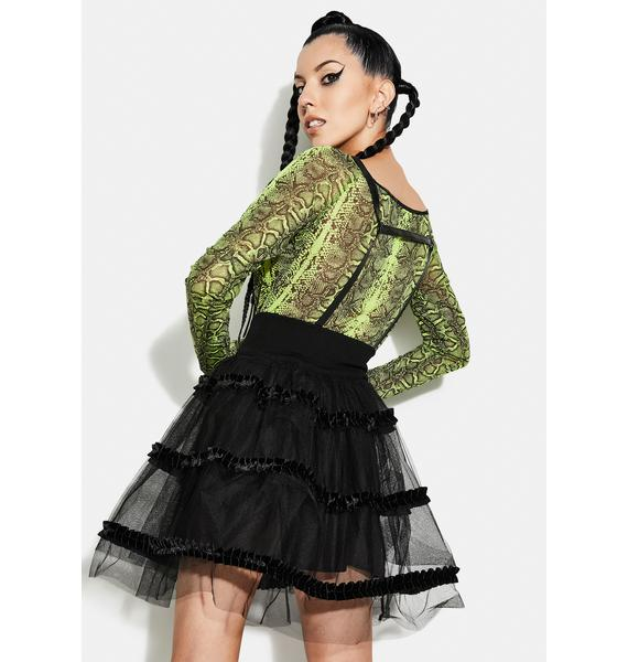 Punk Rave Magic Doll Suspender Mesh Bubble Skirt