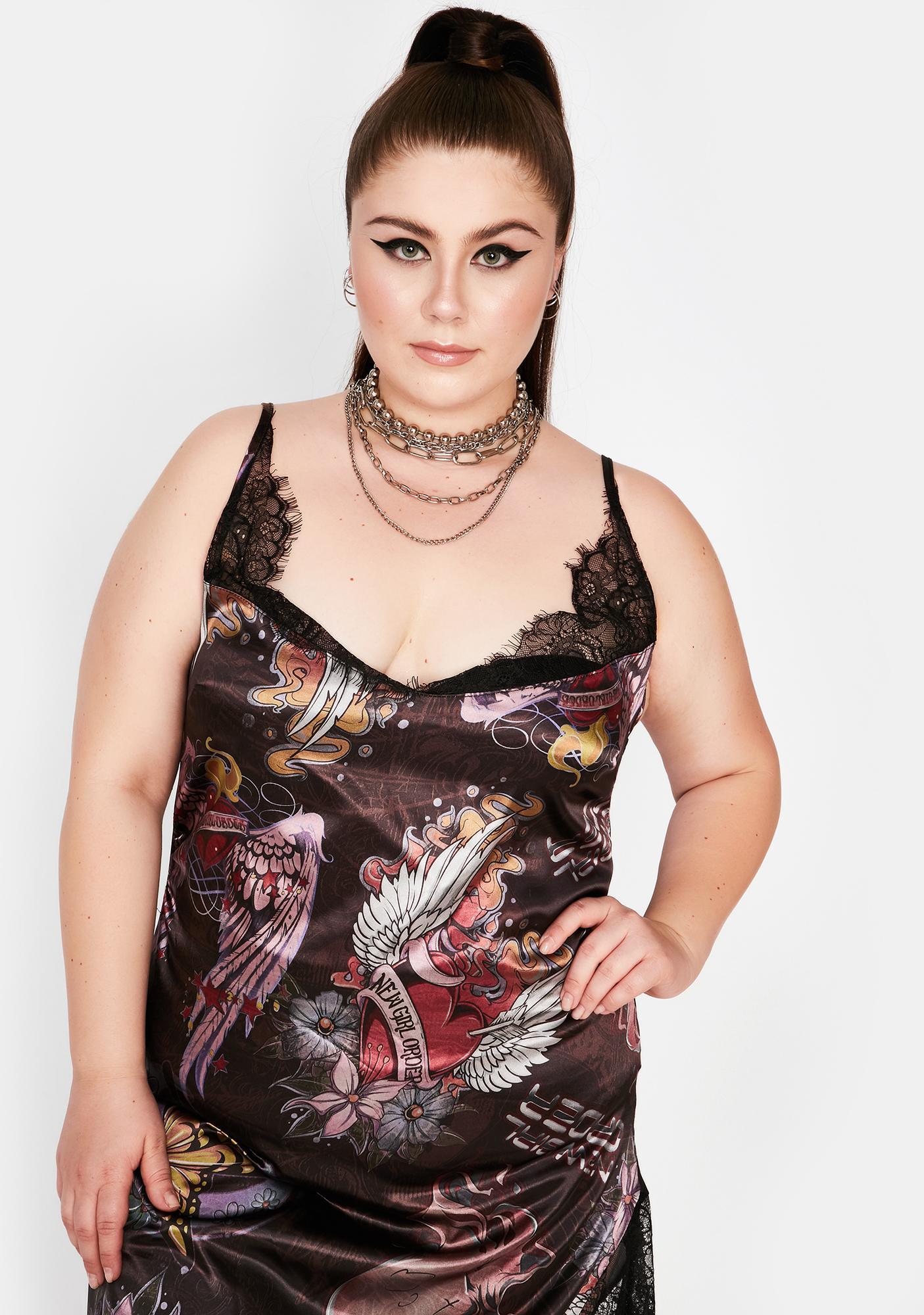 NEW GIRL ORDER Curve Lace Floral Asymmetrical Midi Dress