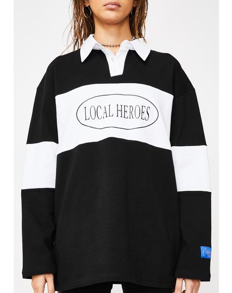 LH Black And White Polo Long Sleeve