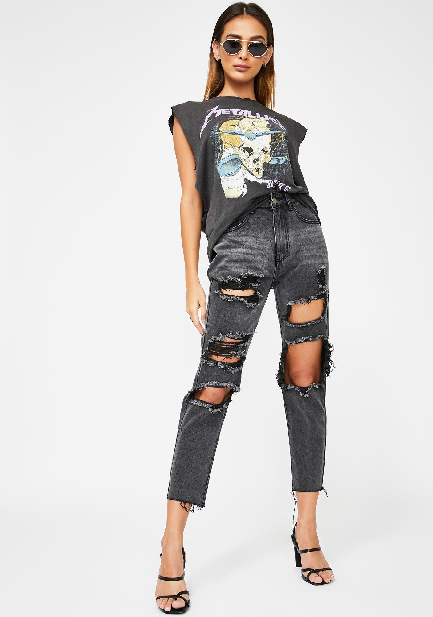 Momokrom Washed Black Extreme Distressed Jeans