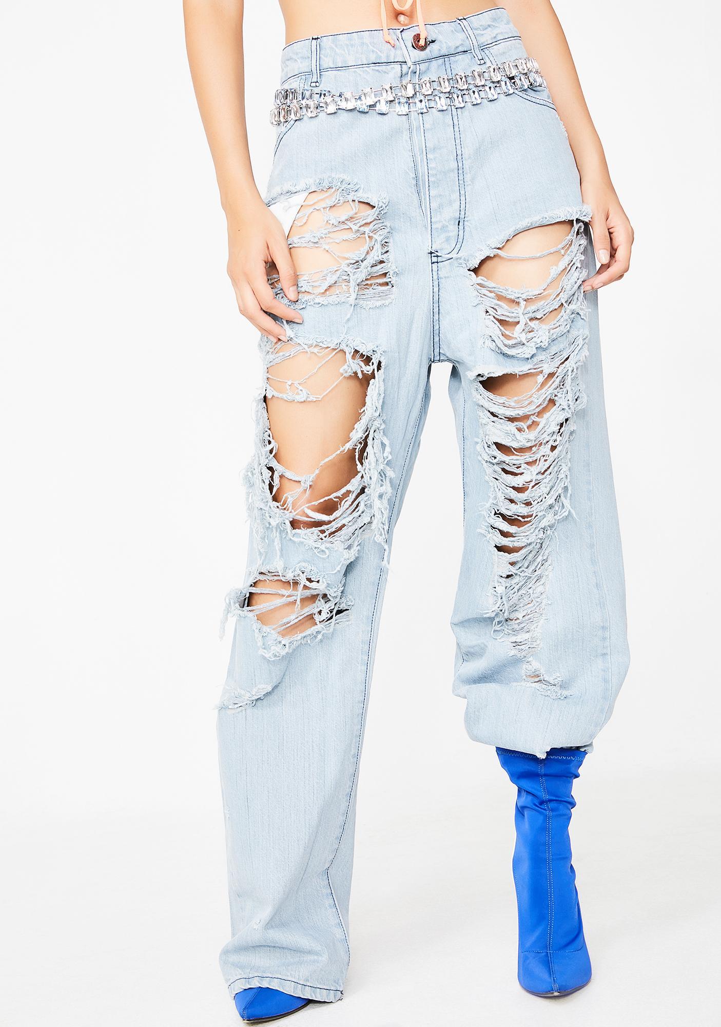 26b4a7048 High Waist Distressed Boyfriend Denim Jeans