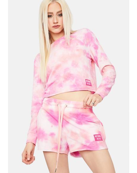 Tie Dye Cozy Fleece Lounge Shorts
