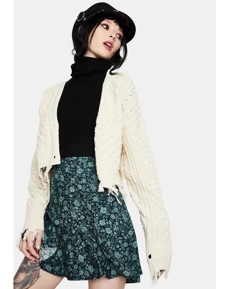 Gaelle Mono Paisley Sage Mini Skirt