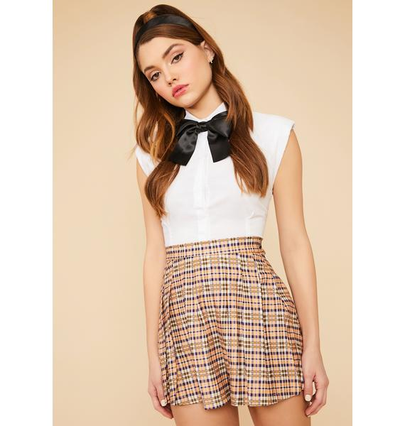 Lilac Study Date Plaid Pleated Mini Skirt
