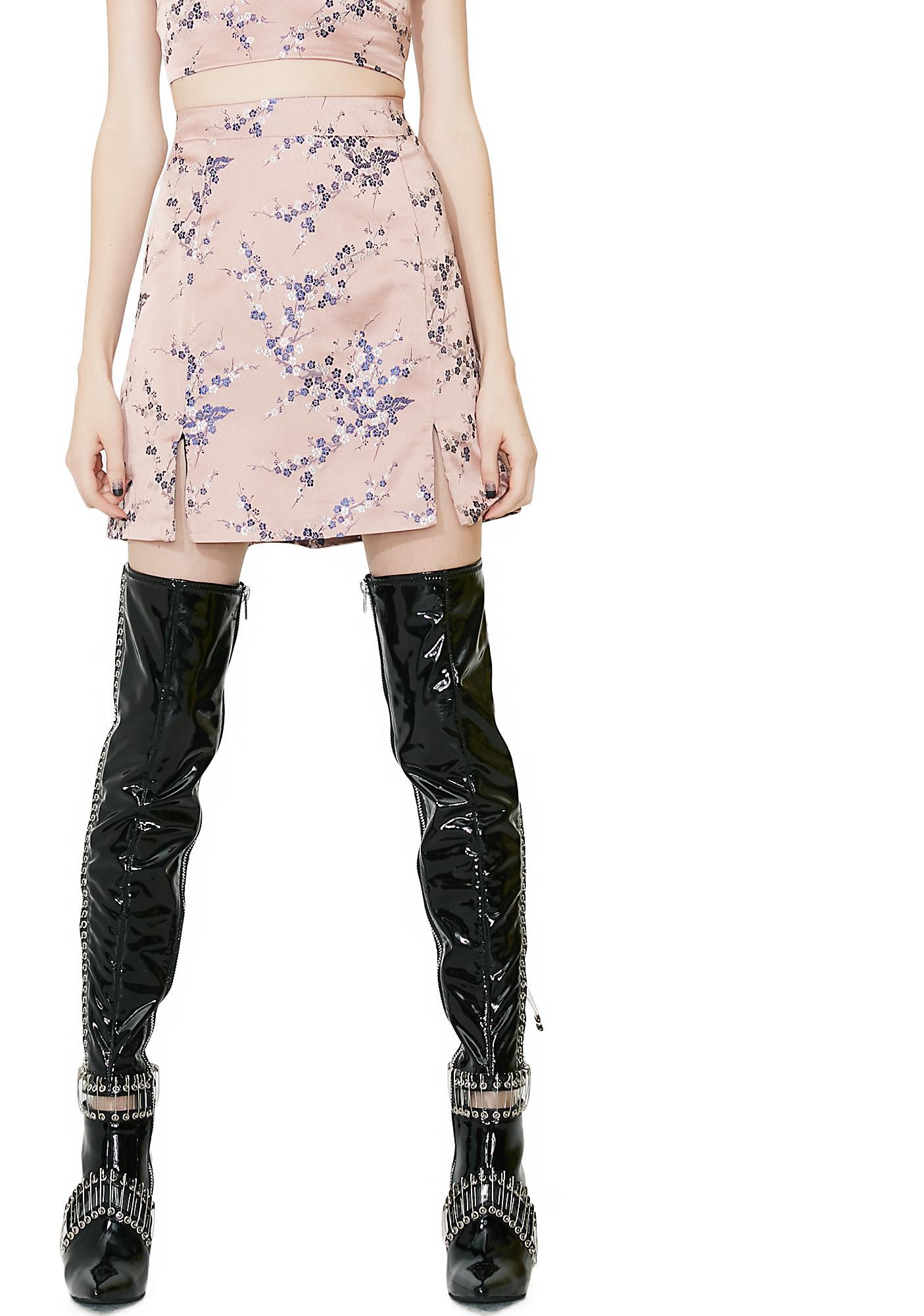 Glamorous Sakura Embroidered Mini Skirt