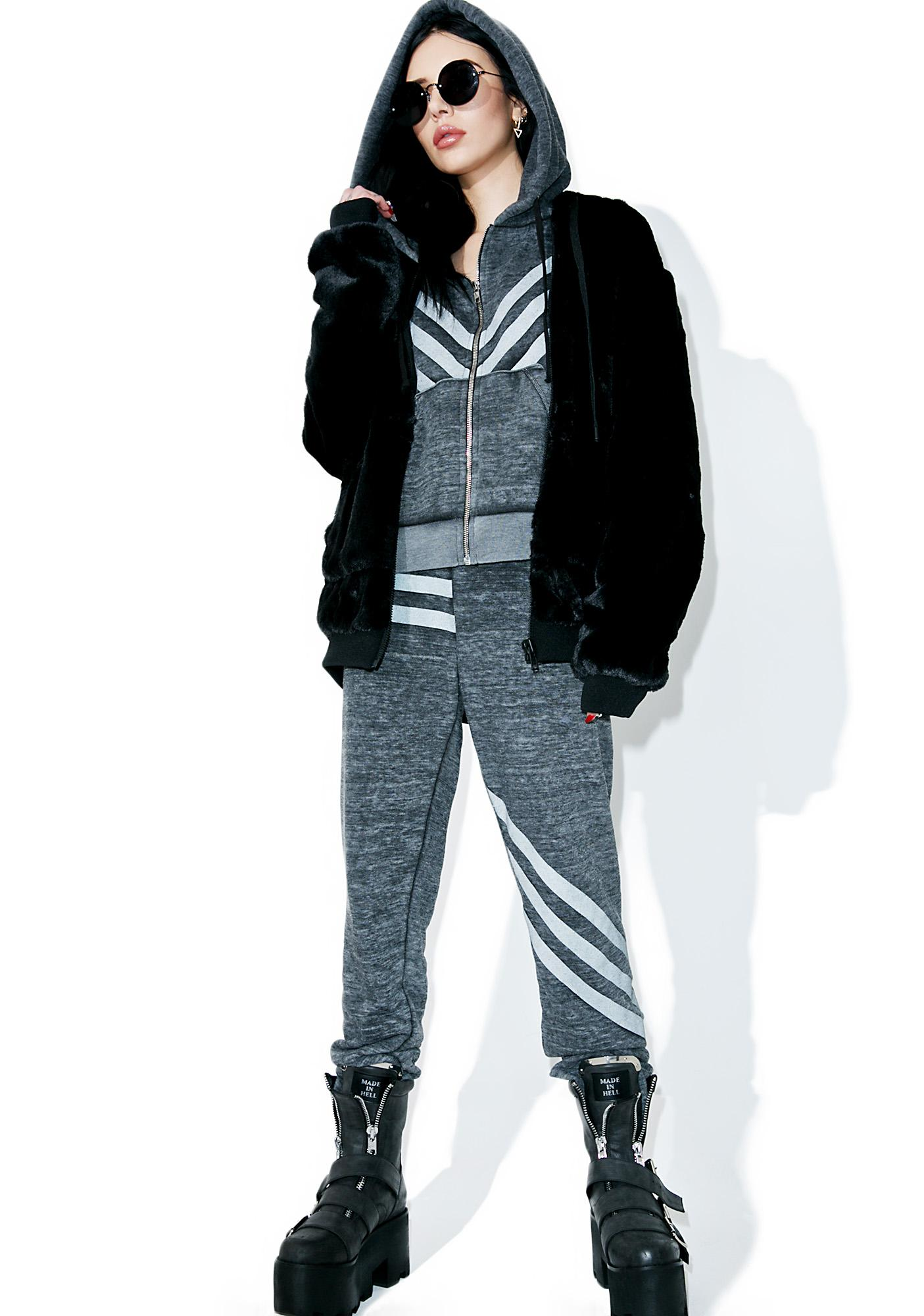 Wildfox Couture Tri-Stripe Burnout Fleece Bottoms
