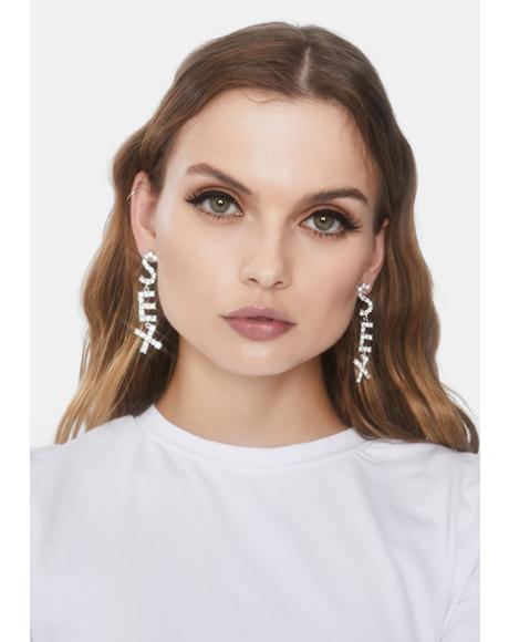 Do The Deed Rhinestone Earrings