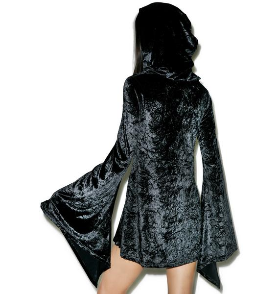 Killstar Velvet Witch Hooded Dress