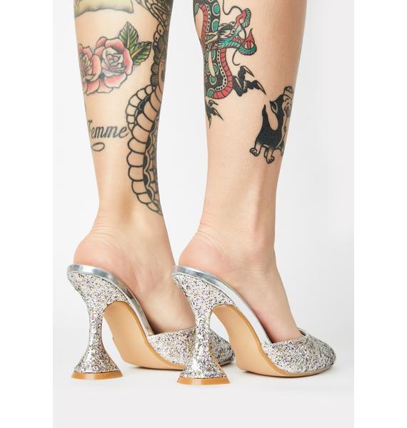 Platinum Miss Jetsetter Glitter Heels