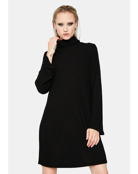 The Third Degree Mock Neck Mini Dress