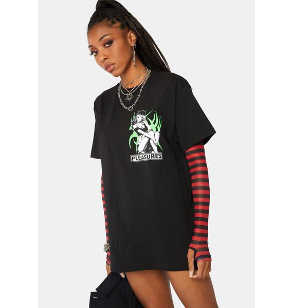 Pleasures Black Bossy Graphic Tee