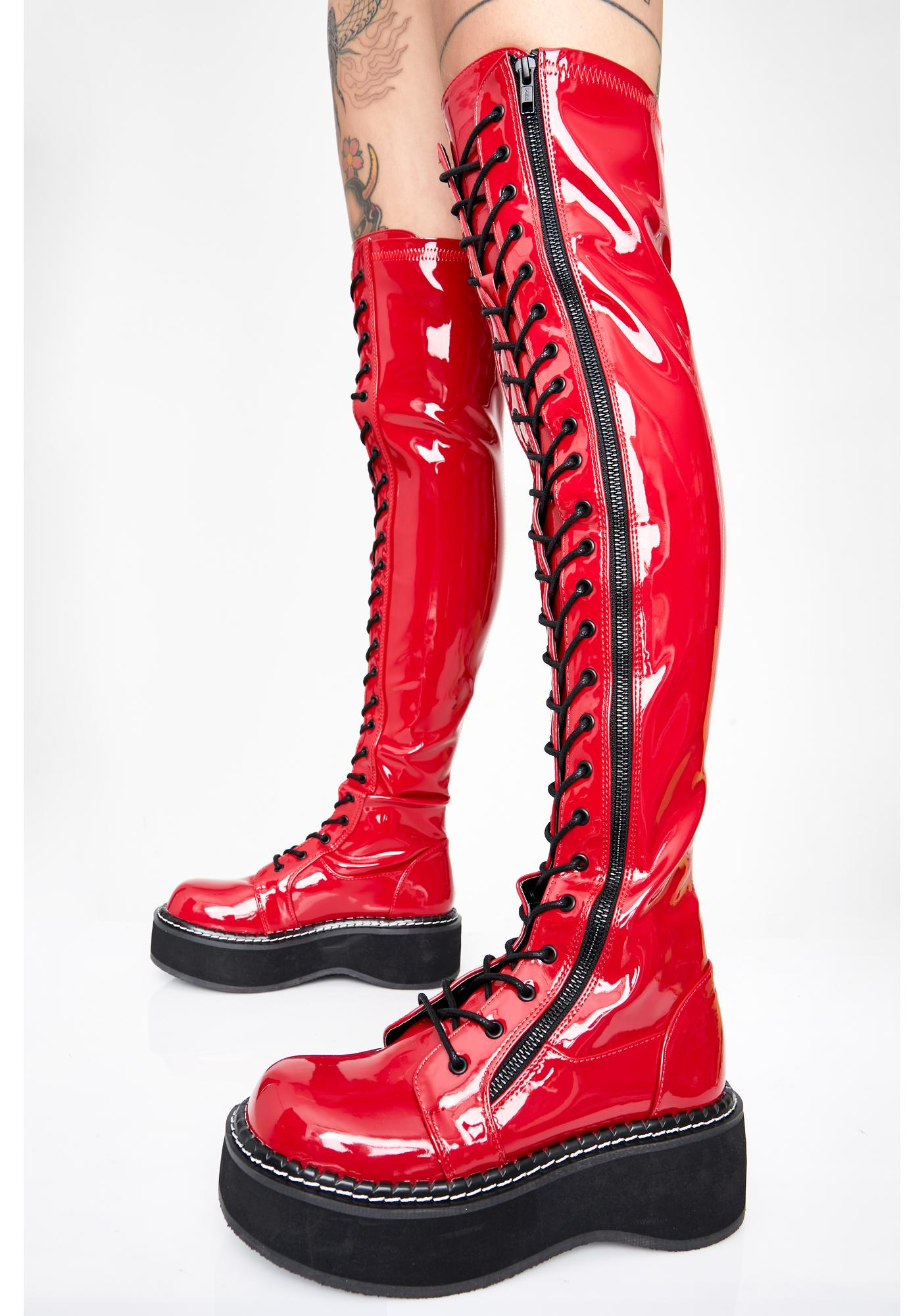 Demonia Cherry Grand Stand Knee High Boots