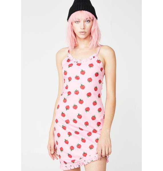 Daisy Street Strawberry Print Mini Dress
