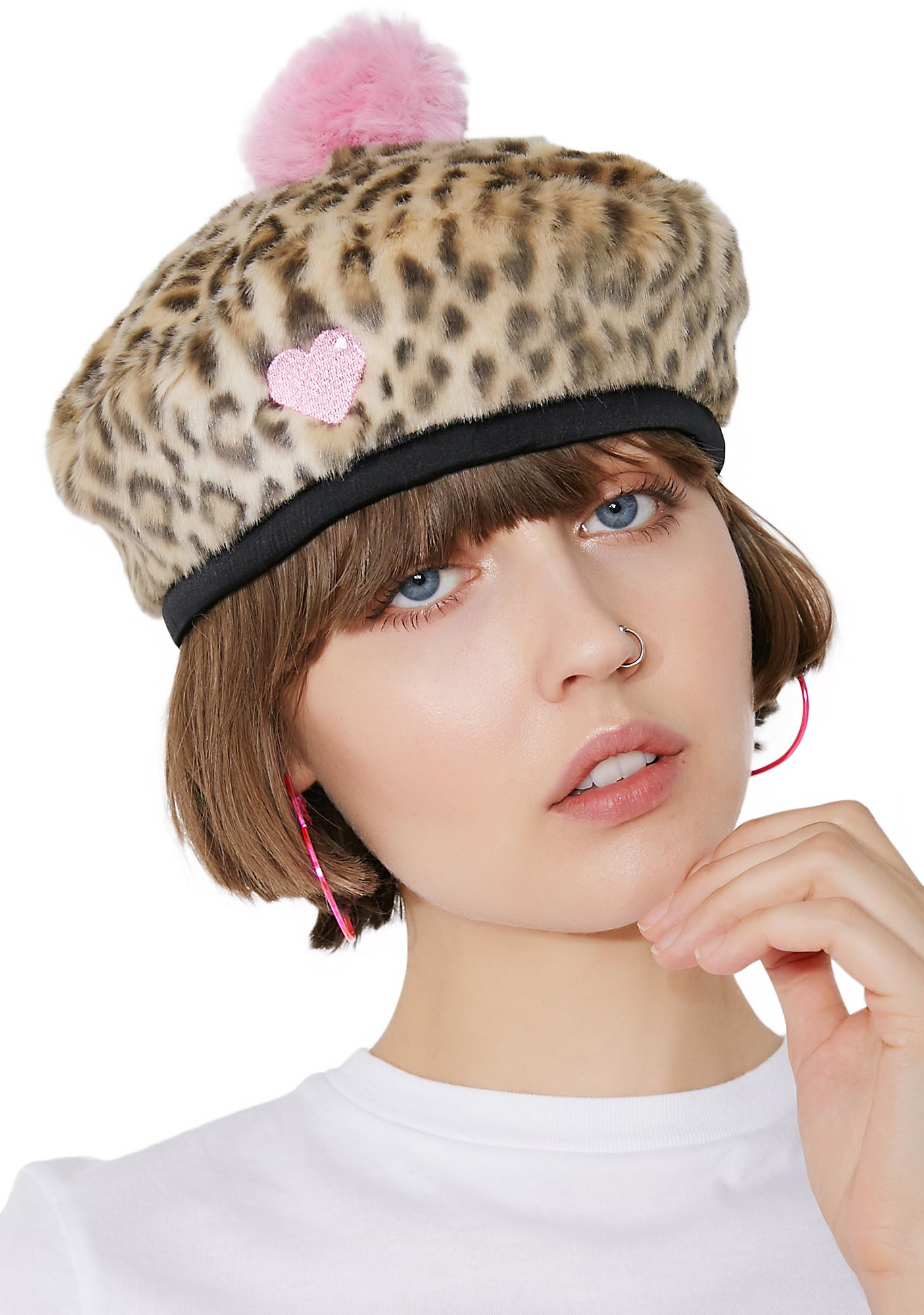 72b577f687d ... Lazy Oaf Leopard Love Beret ...