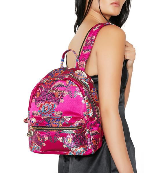 Betsey Johnson Satin Chinoiserie Backpack