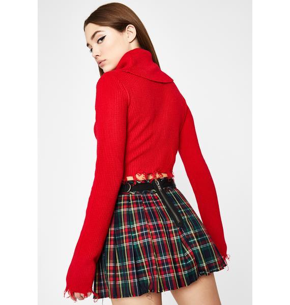 Blaze Beyond Distressed Cropped Sweater