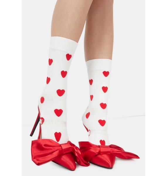 AZALEA WANG Red Bow Backless Heels