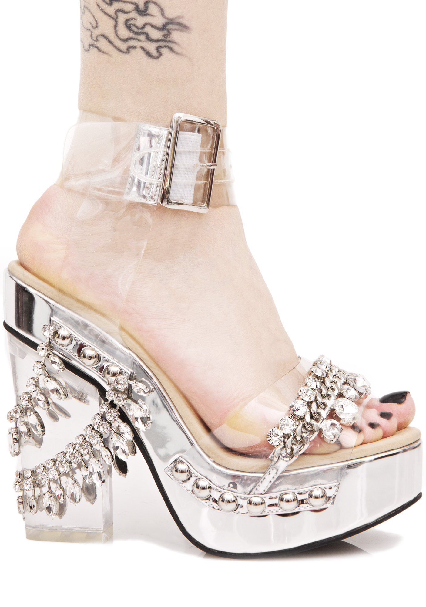 Silver Crystal Platfrom Lucite Heels