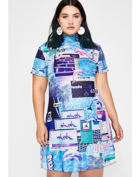 Viral Cyber Splash Mesh Dress