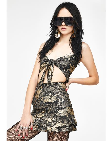 Golden Dragon Cut Out Dress