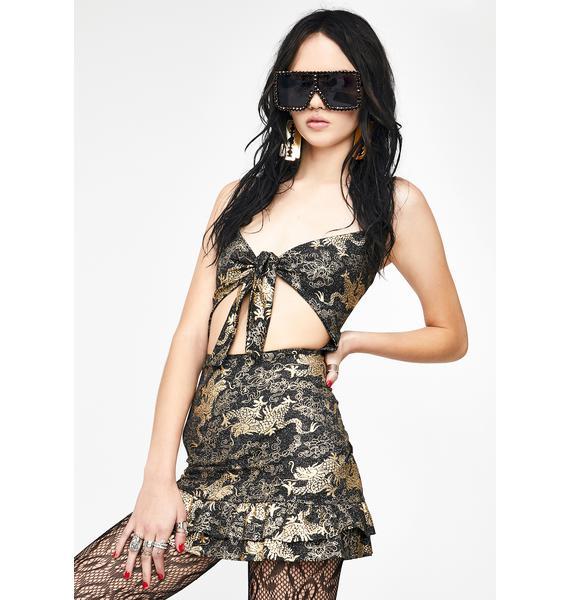NEW GIRL ORDER Golden Dragon Cut Out Dress