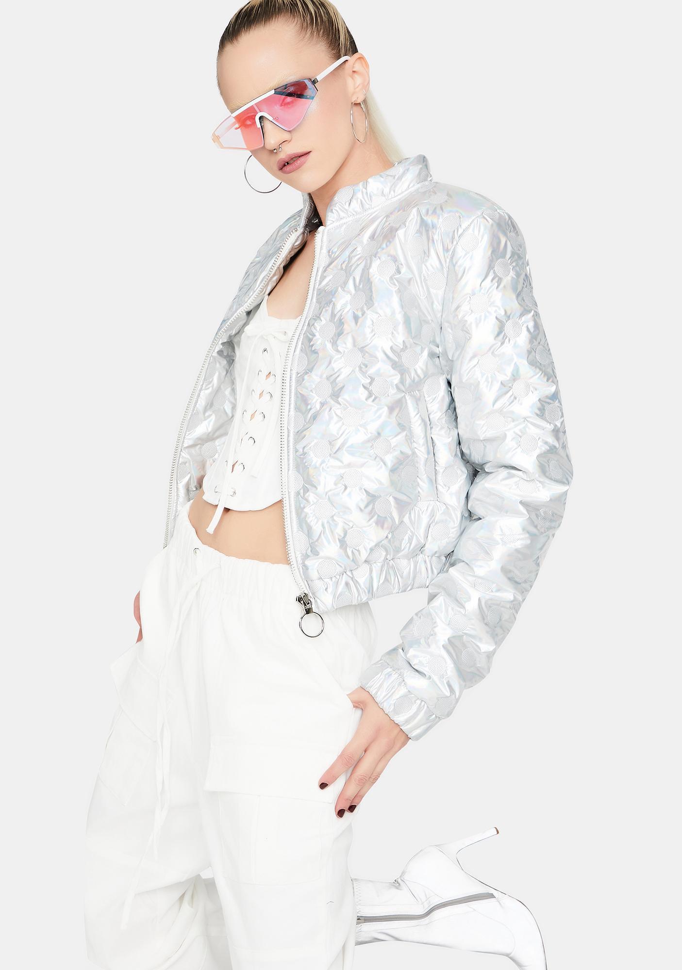 Funky Future Holographic Bomber Jacket