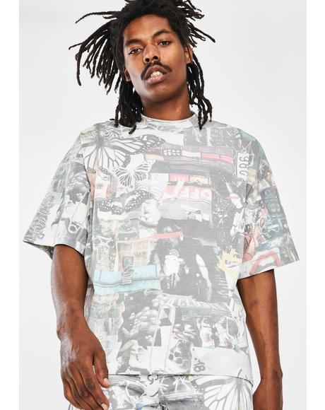 Washed Collage Oversized Graphic Tee