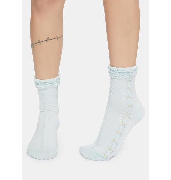 Powder Lover's Fate Embroidered Crew Socks