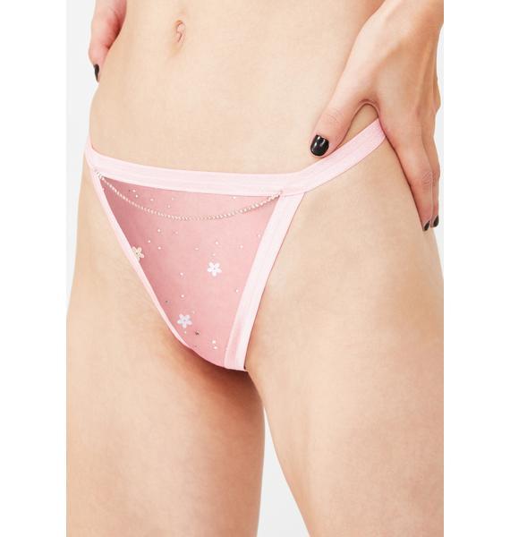 Cats Got The Cream Pink Glitter Thong Set