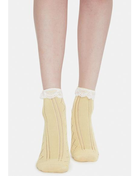 Honey Treat Me Romantically Pointelle Crew Socks