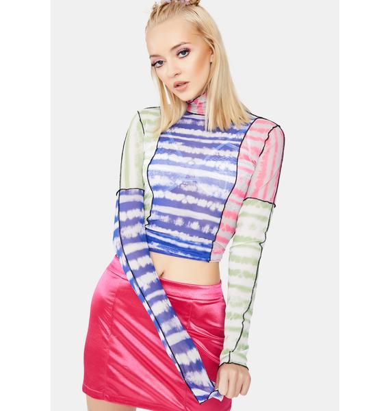 Kiki Riki Multi Dye Stripe Mesh Top