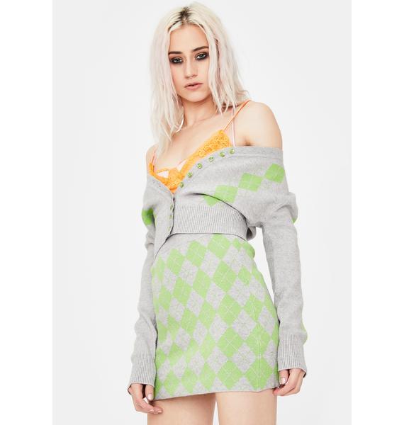 No Dress Green Argyle Knit Mini Skirt