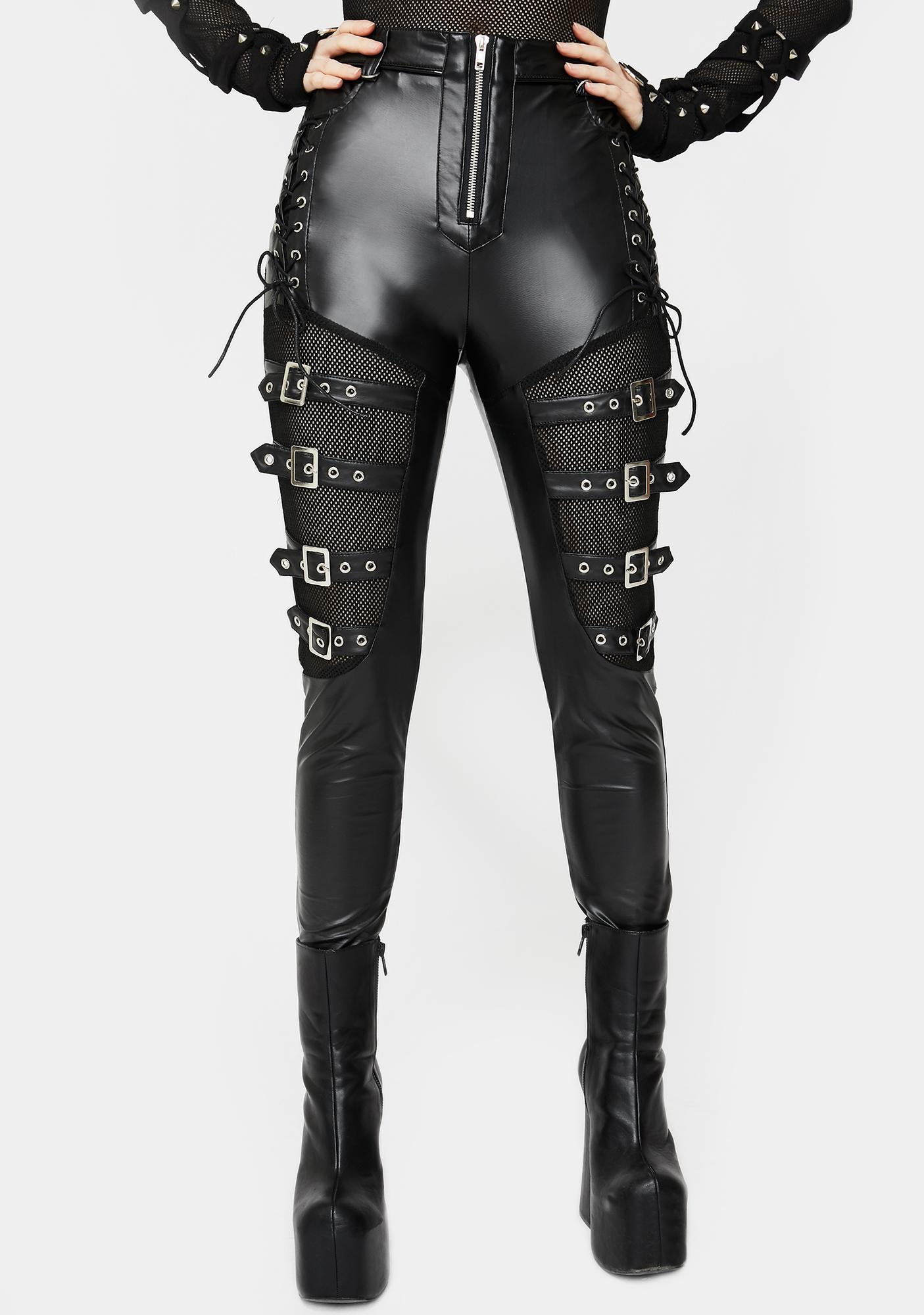 Buckle Lace Up Skinny Pants by Devil Fashion