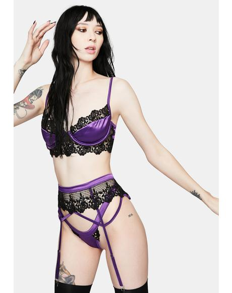 Purple Waste No Time Satin Lingerie Set