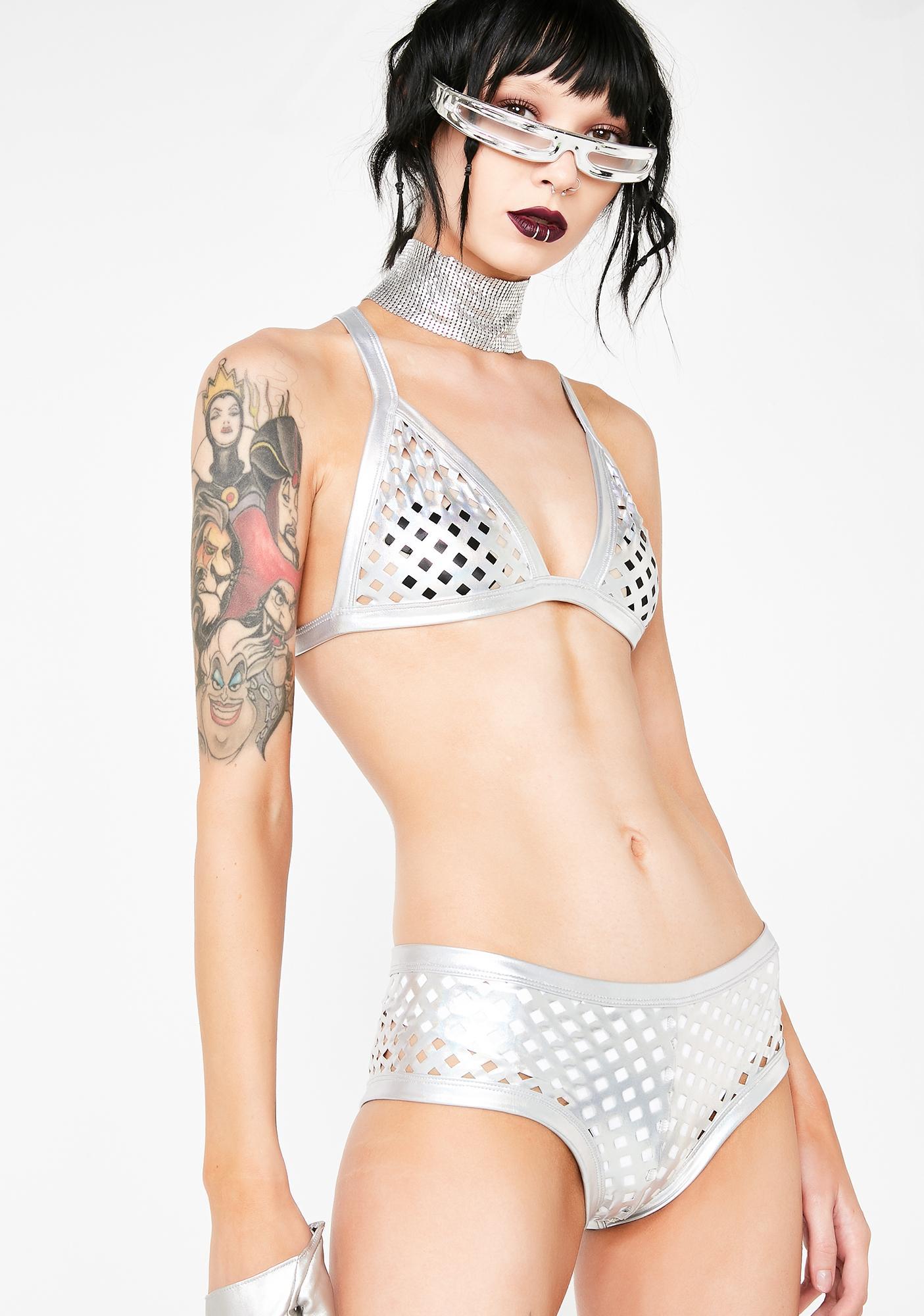 Club Exx Futuristic Mirage Metallic Shorts