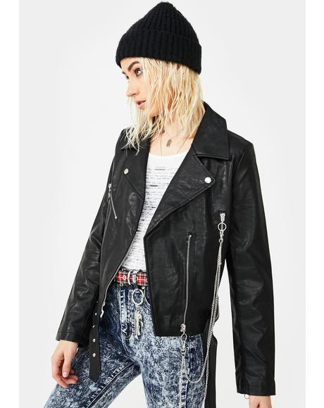 Vegan Moto Jacket With Chains