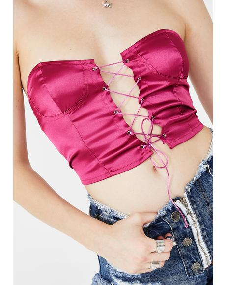 Pink Lace Up Bustier