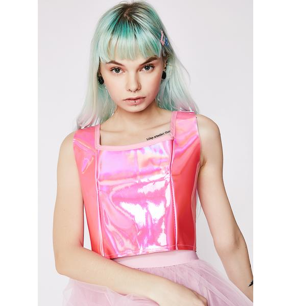 Cosmic Unicornz Pink Holographic Crop Top